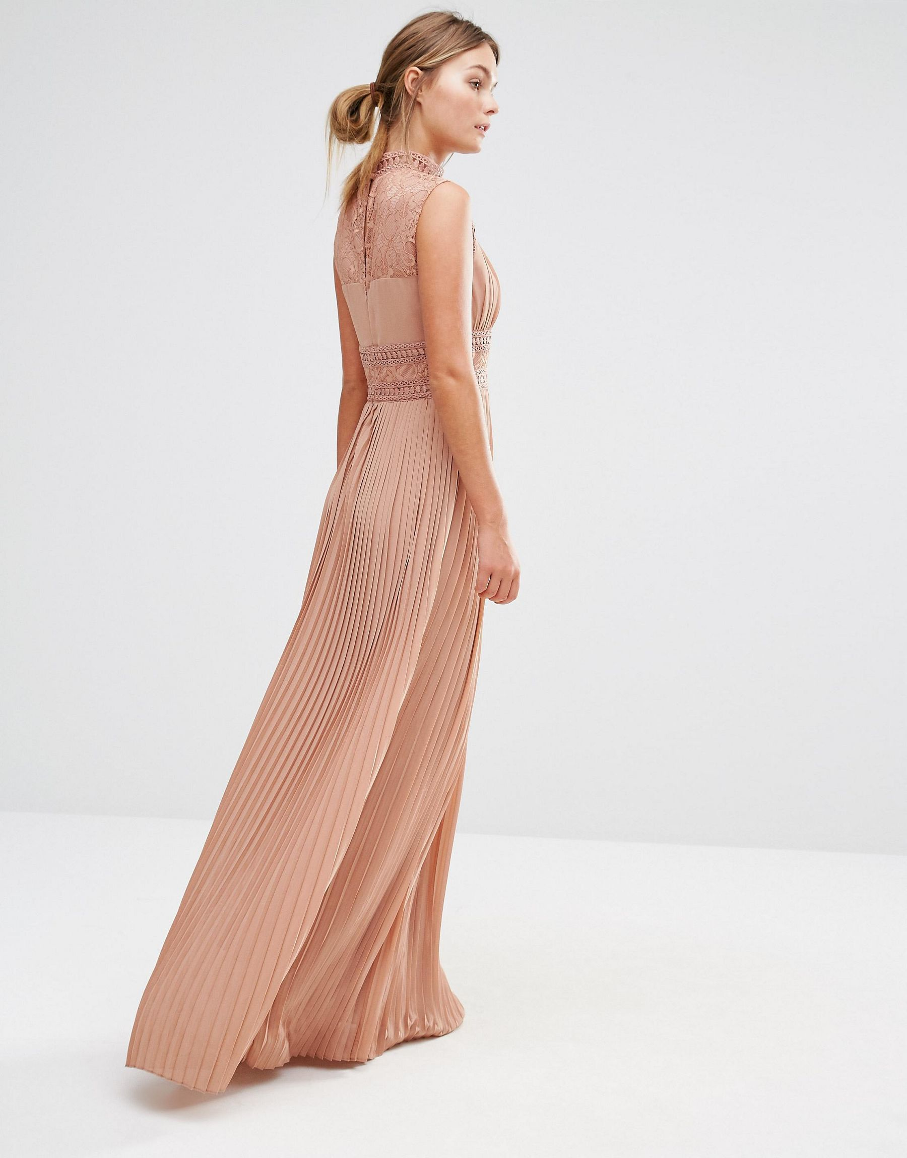 Lyst Tfnc London Wedding Pleated Maxi Dress With Lace Detail In Pink