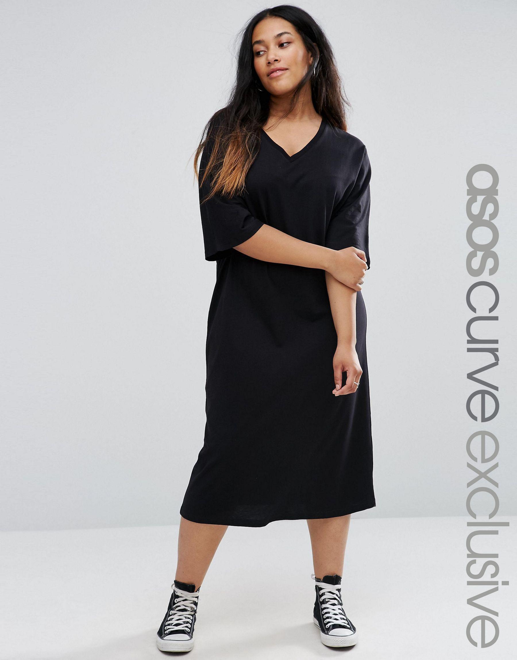 Asos curve kimono v neck sleeve t shirt midi dress in for Midi shirt dress black
