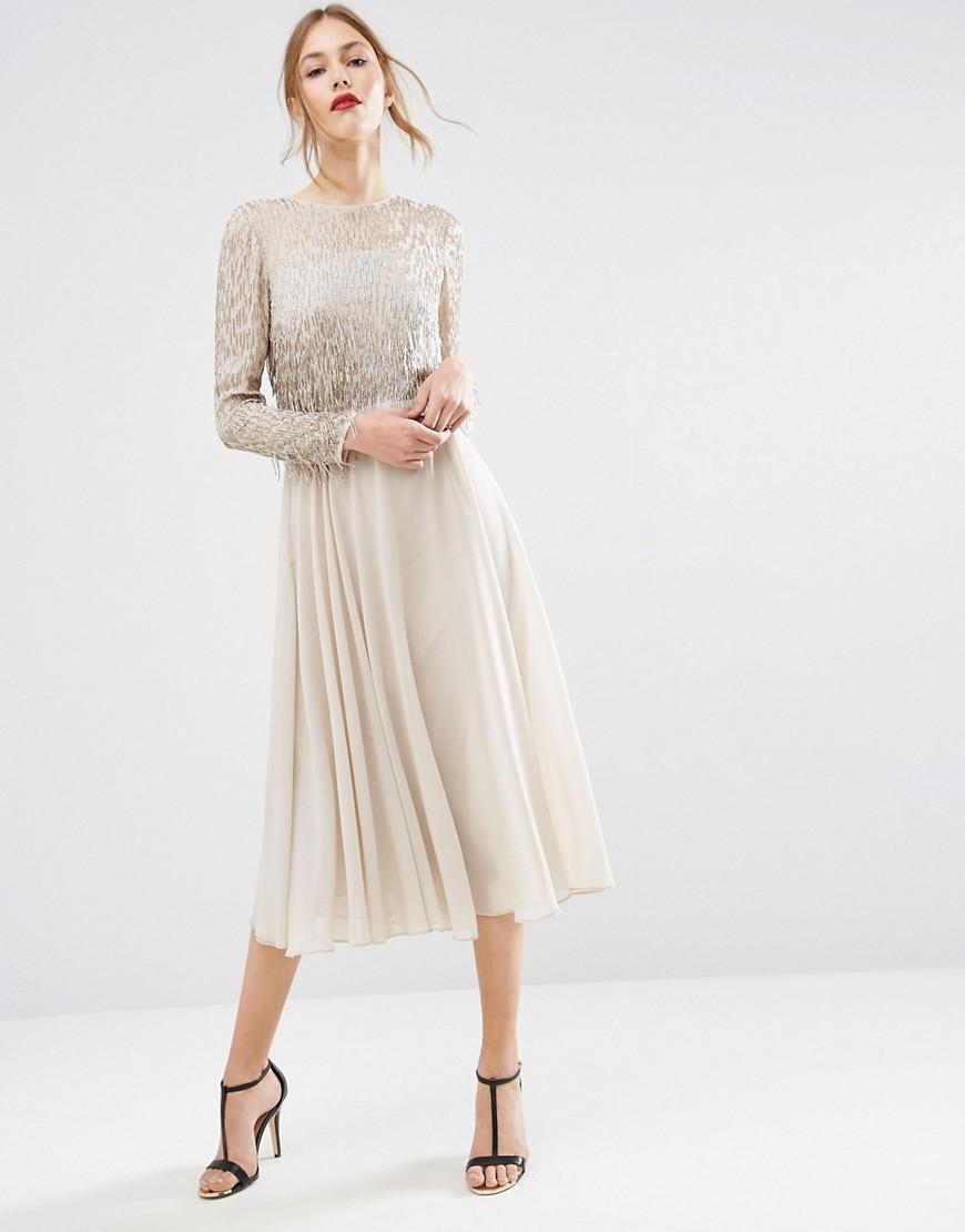 bbb66bf2b6523 ASOS Embellished Tassle Long Sleeve Midi Dress in Natural - Lyst