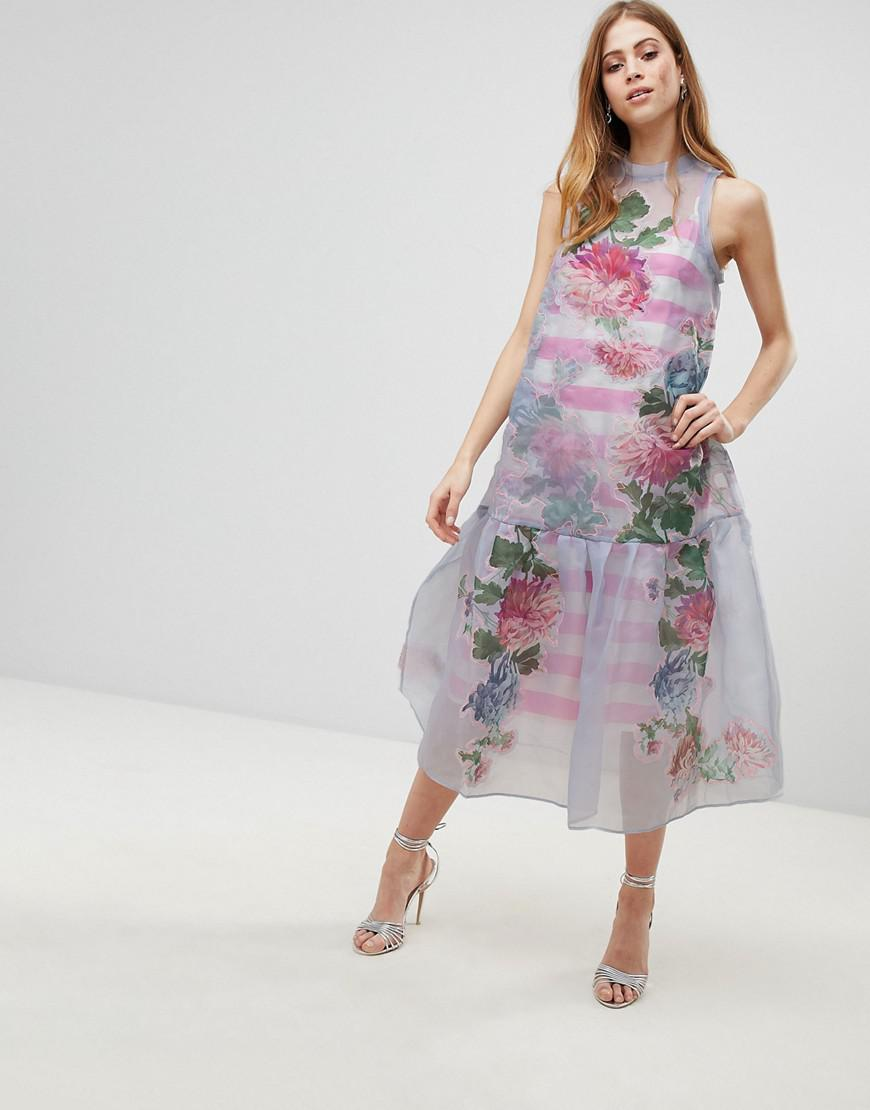 c2c64daecdb2 Asos Salon Embroidered Floral Midi Dress With Contrast Straps – DACC