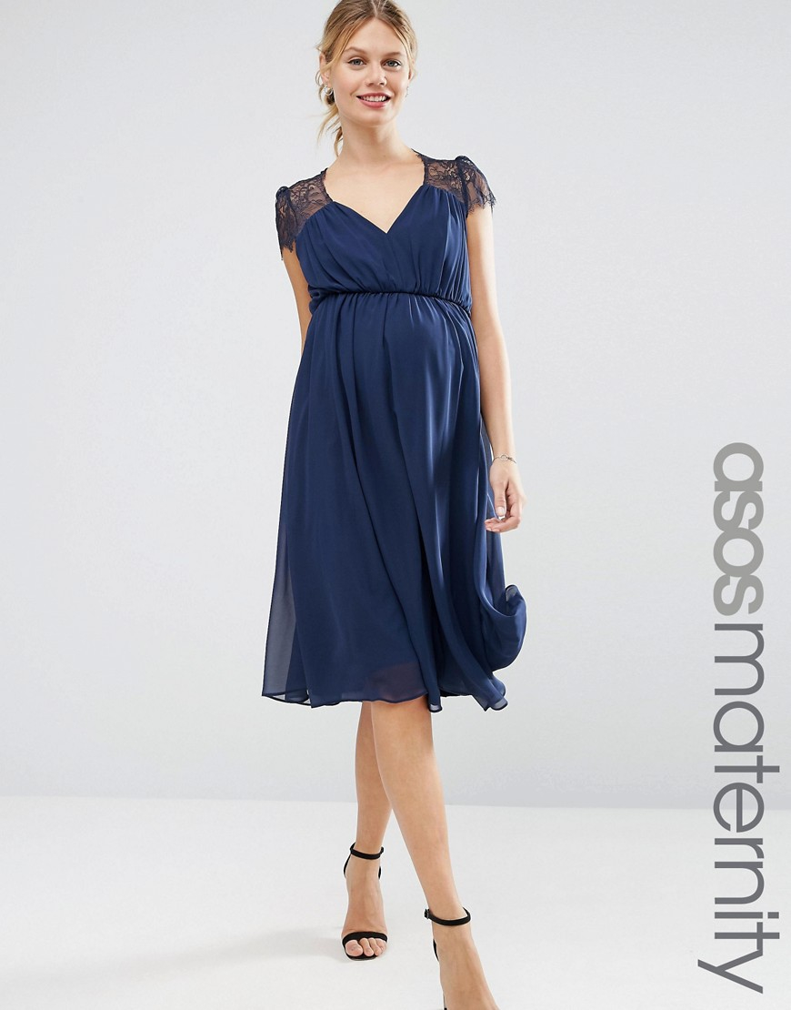 Asos Kate Lace Midi Dress in Blue   Lyst