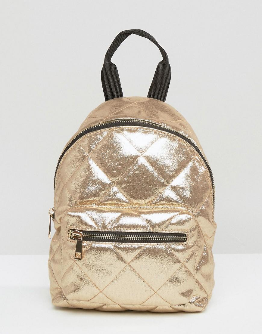 Lyst Asos Mini Metallic Quilted Backpack In Metallic