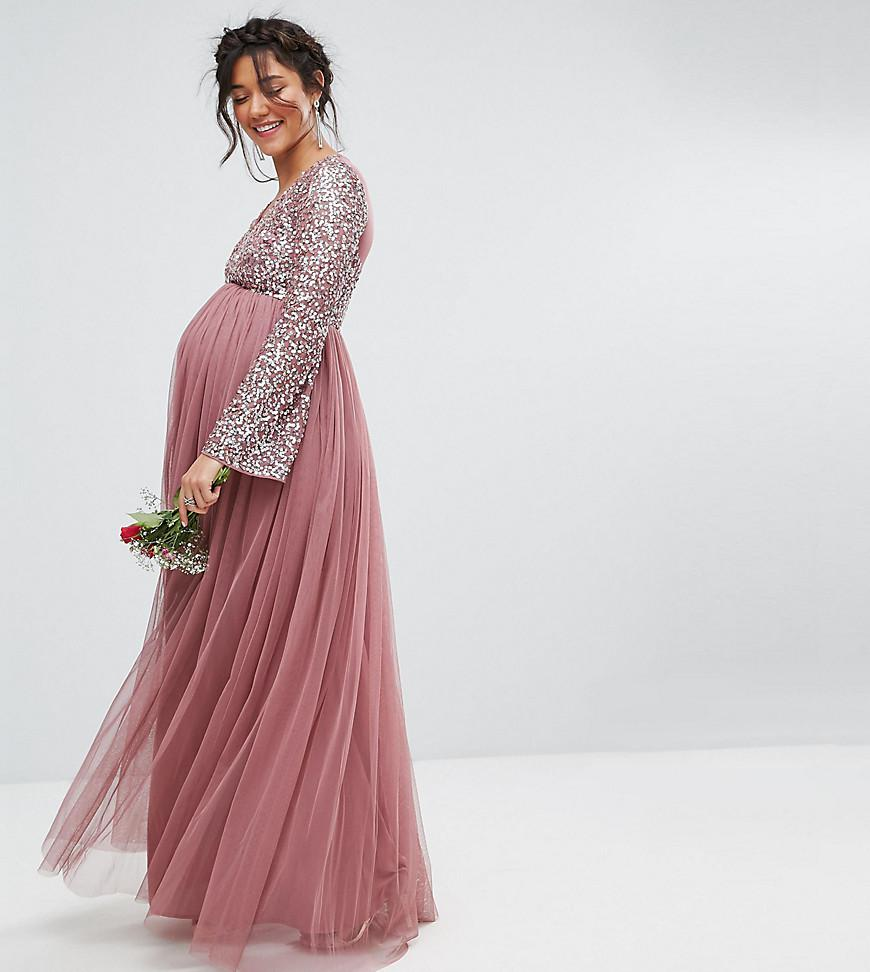 64e6fb67e4fd3 Lyst - Maya Maternity Long Sleeve V Neck Maxi Dress With Tonal ...