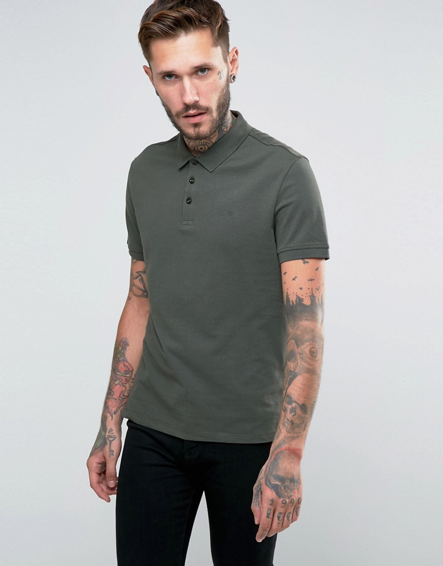 Armani jeans polo shirt with logo regular fit in olive in for Polo shirt and jeans