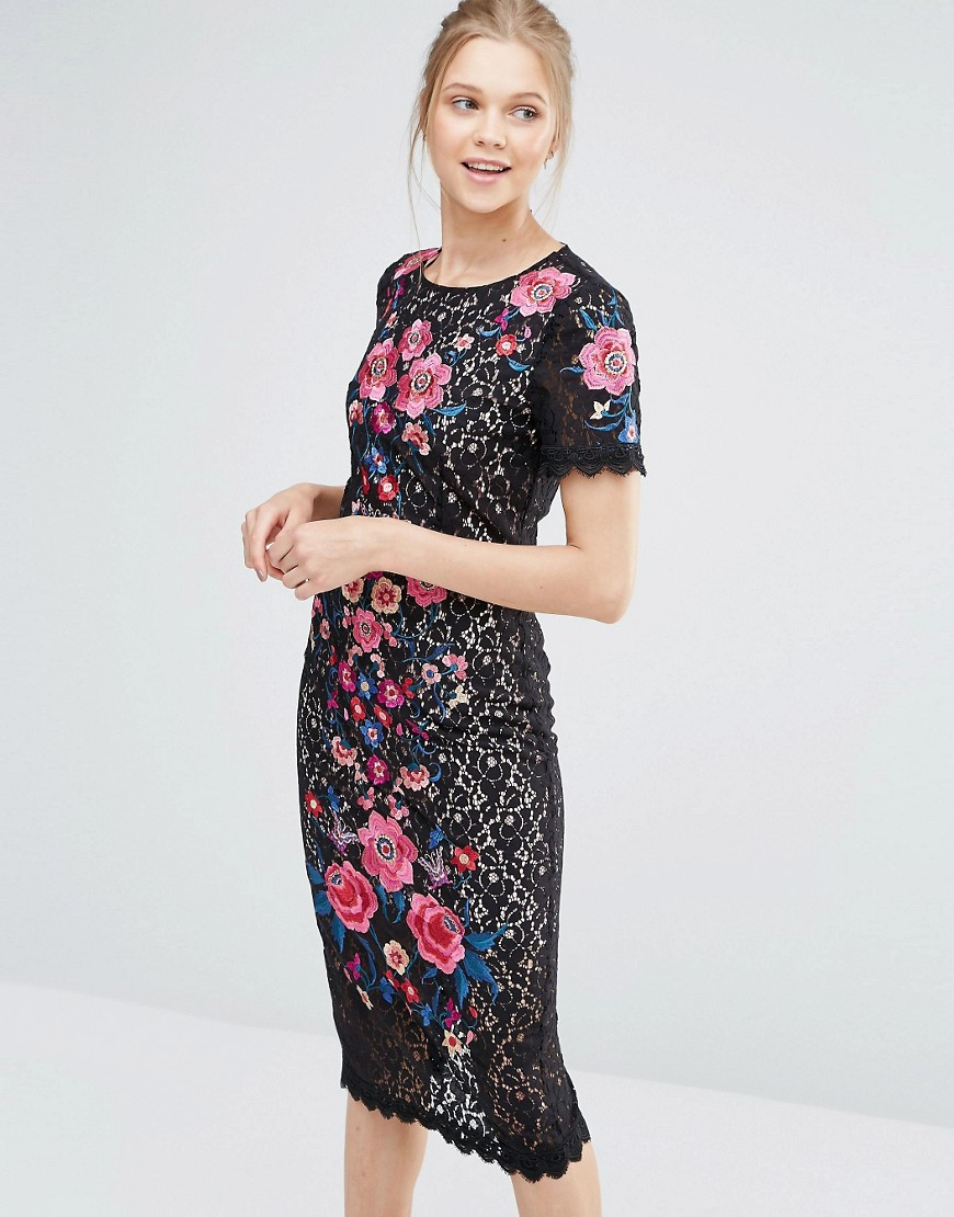 Oasis embroidered lace pencil dress lyst
