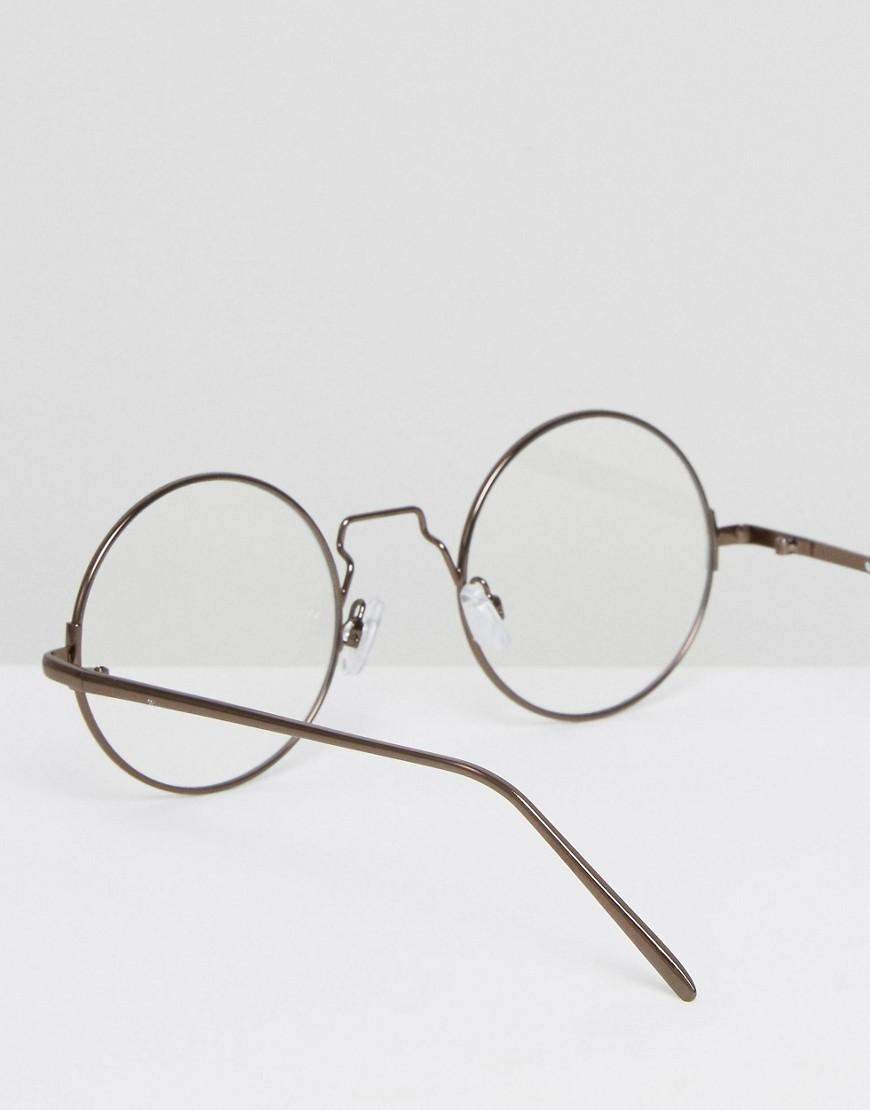 e34afbcc11 Asos Metal Round Glasses With Clear Lens in Brown for Men - Lyst
