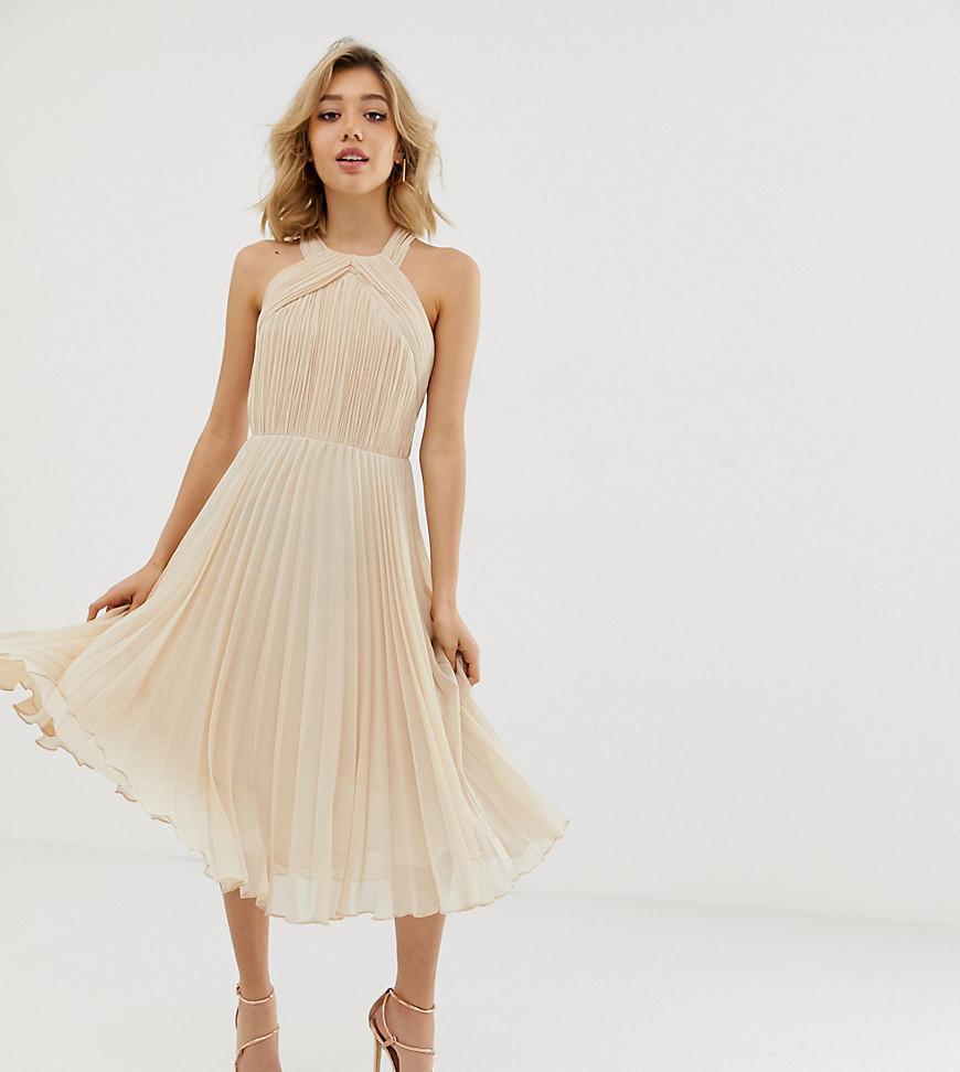 ebecd2974f ASOS Asos Design Petite Pleated Bodice Halter Midi Dress in Pink - Lyst