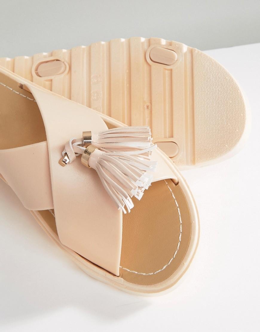 Call It Spring Kirikkale Tassel Slide Flat Sandals In