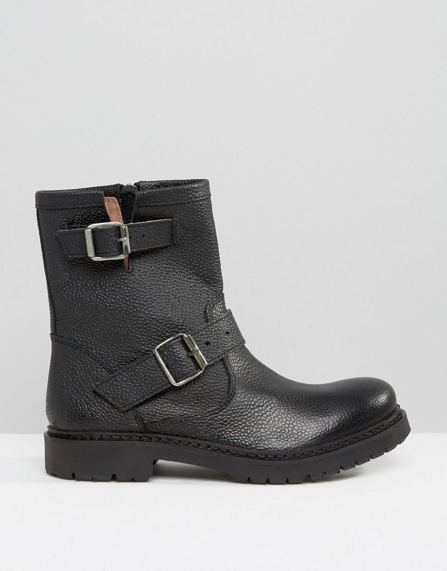 lyst selected femme beth black leather biker boots in black. Black Bedroom Furniture Sets. Home Design Ideas