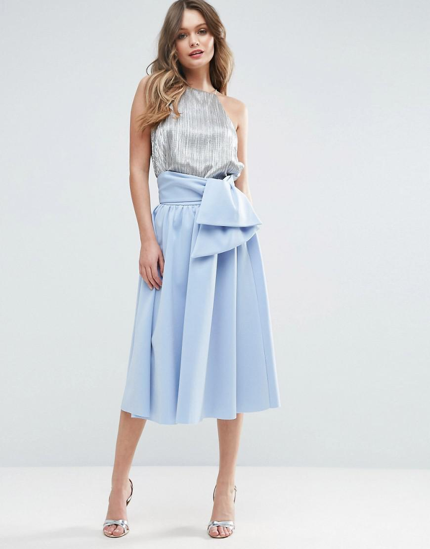 33974867e3 Asos Scuba Prom Skirt With Tie Waist in Blue - Lyst