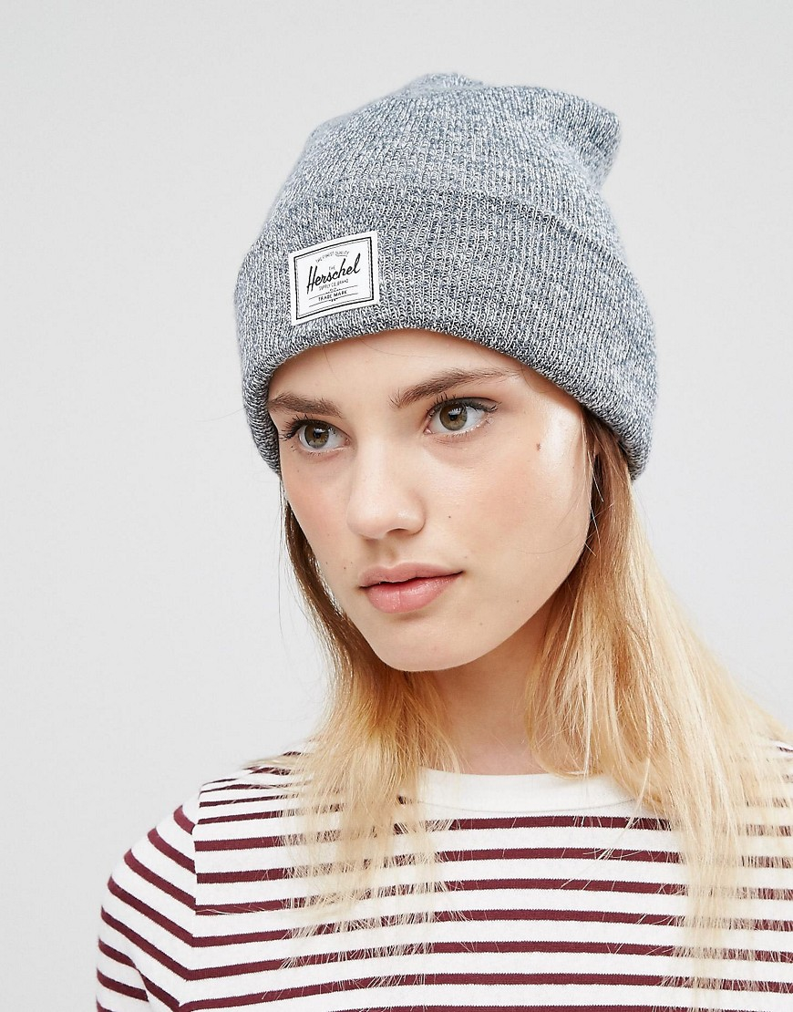 ca1e681d058 closeout quartz black beanie hat 41423 e9425  discount herschel supply co.  herschel grey marl knitted beanie in gray lyst 74114 b9869