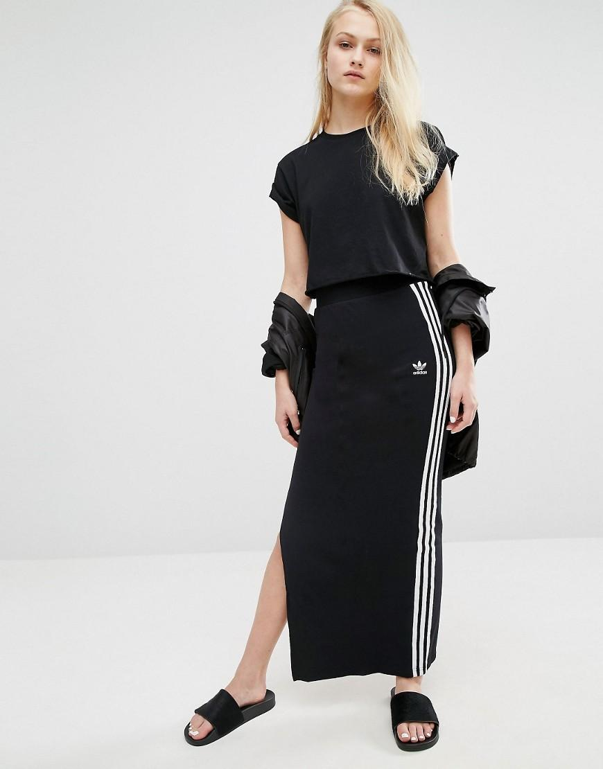 d4c53a4a9 adidas Originals Maxi Skirt With 3 Stripes in Black - Lyst