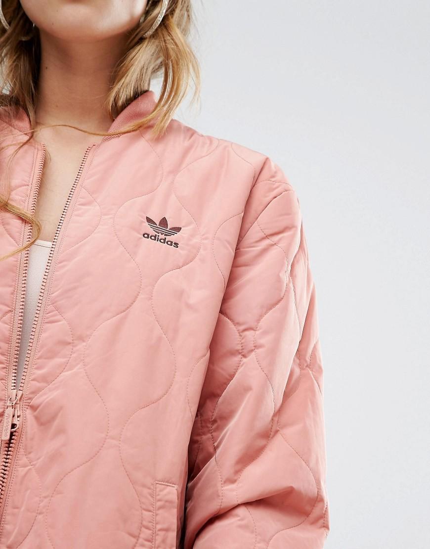 dfaa1f515294 Lyst - adidas Originals Originals Oversized Quilted Bomber Jacket in Pink