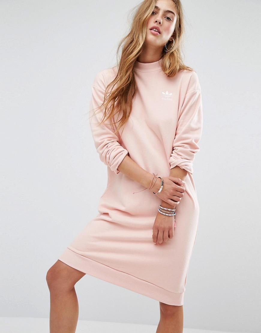 Adidas Originals Trefoil Tee Dress In Pale Pink 0a300b8f8