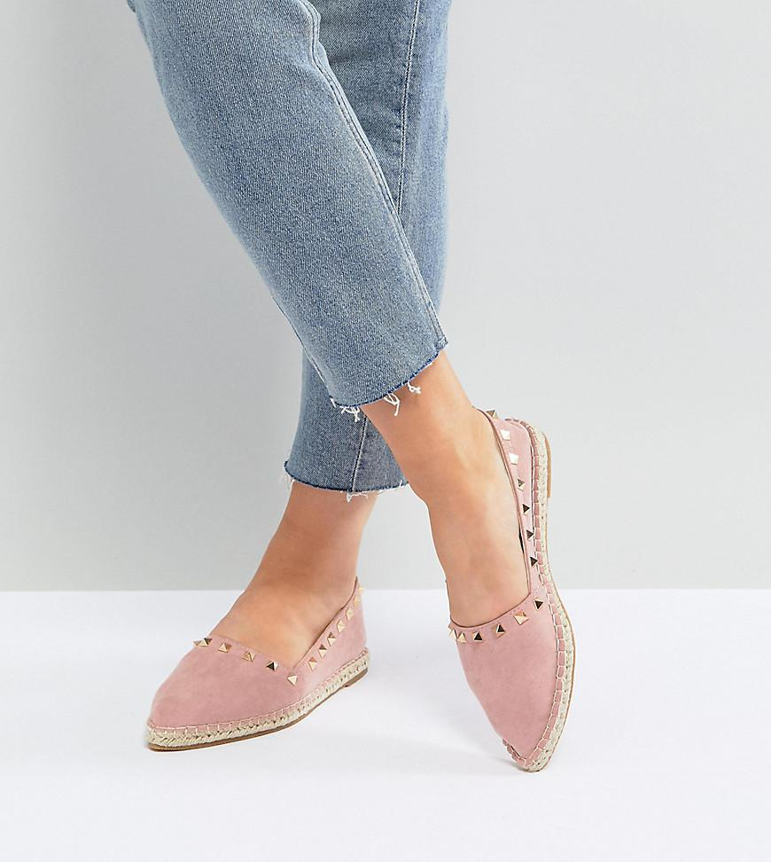 JISELLE Wide Fit Point Studded Espadrilles - Yellow Asos Shopping Really Cheap Shoes Online PUwG5