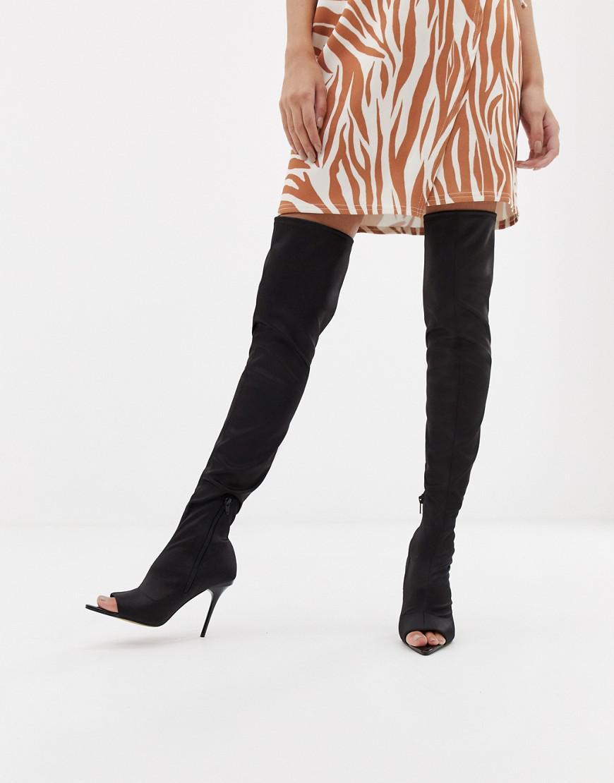bf6fad879fa Peep Peep Kimberly Asos High Boots Thigh Black Toe Toe Toe in Lyst qTgwx6RS