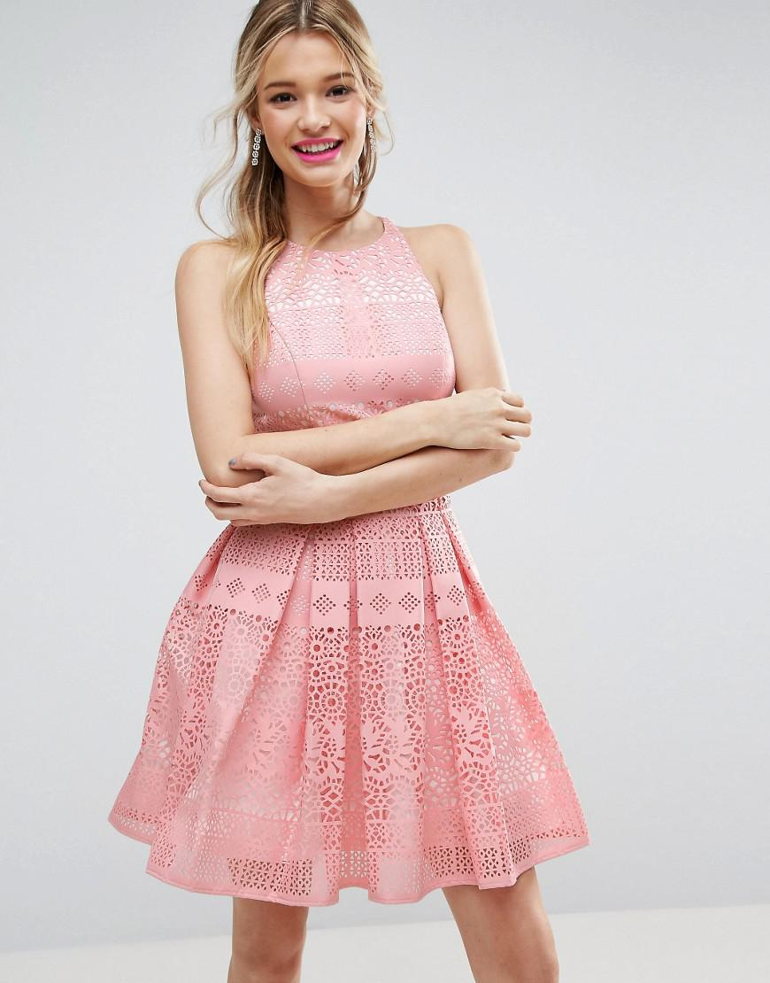 Lyst - Asos Salon Laser Cut Mini Prom Dress in Pink
