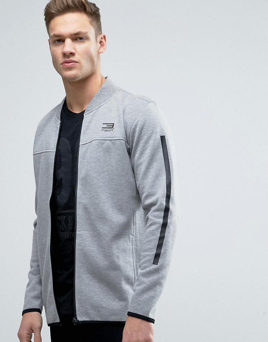 jack jones tech longline bomber jacket in jersey in gray. Black Bedroom Furniture Sets. Home Design Ideas