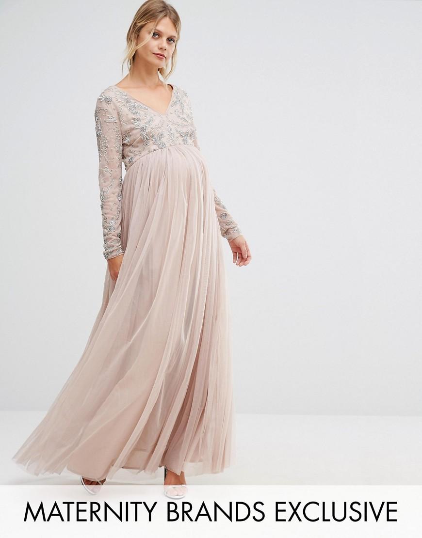 3e38a437948f7 Asos Maternity Long Sleeve Floral Maxi Dress