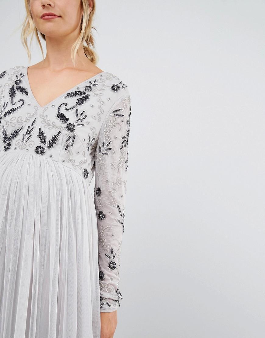 d423eddc3e4b4 Maya Maternity Long Sleeve Embellished Bodice Maxi Dress With Tulle Skirt  in Metallic - Lyst