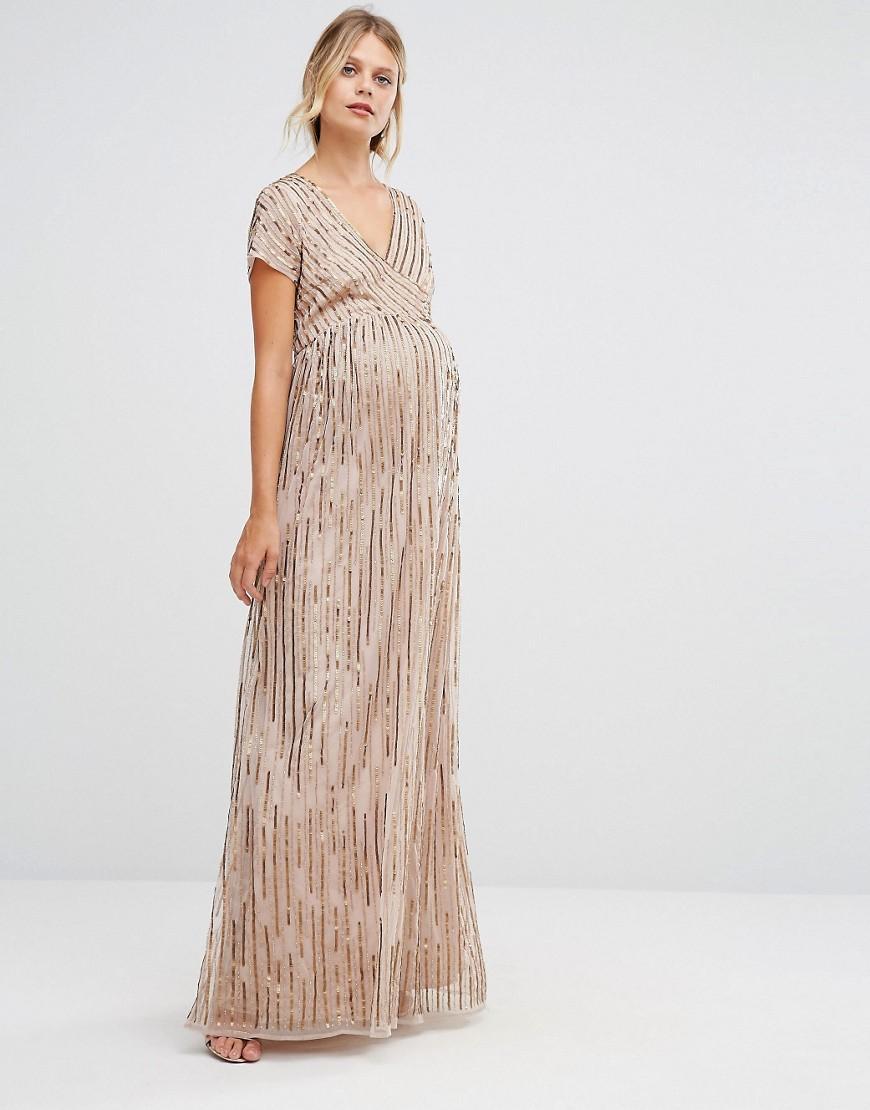 f1fac6472e9 Maya Maternity All Over Embellished Cap Sleeve Maxi Dress in Metallic - Lyst
