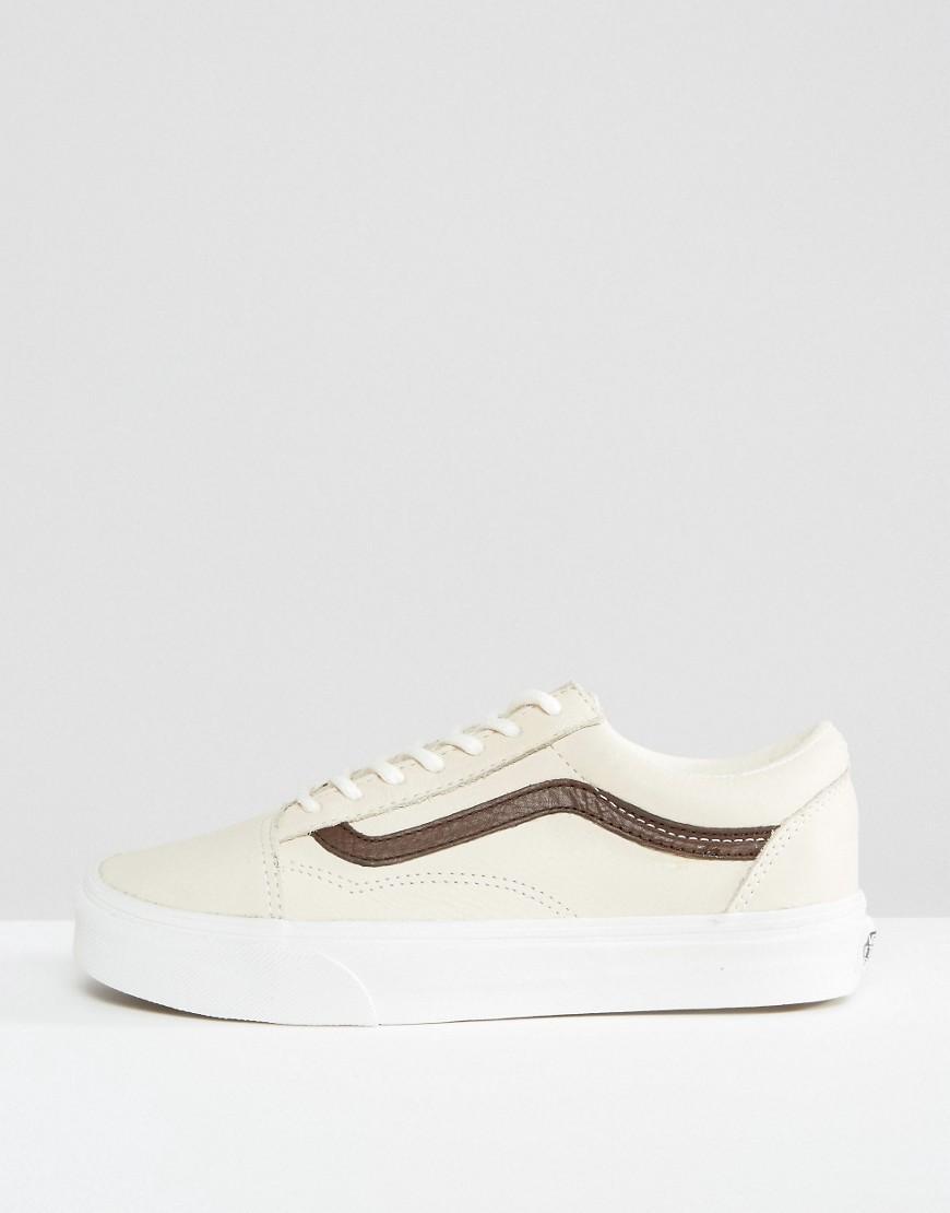 vans old skool trainers in premium cream and tan leather