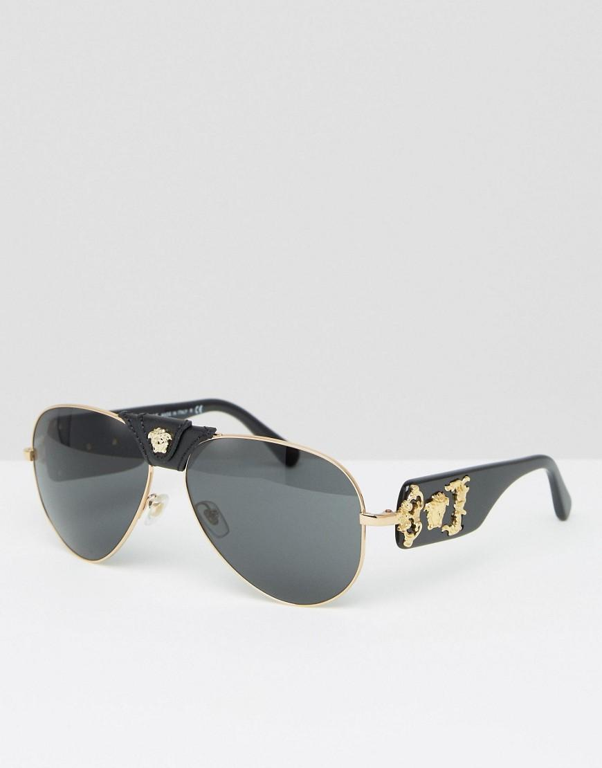 a39bad8936 Lyst - Versace Aviator Sunglasses With Removable Leather Medusa in ...