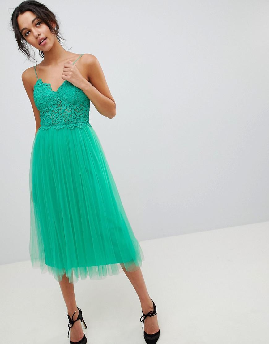 Lyst - Asos Design Premium Lace Cami Top Tulle Midi Dress in Green