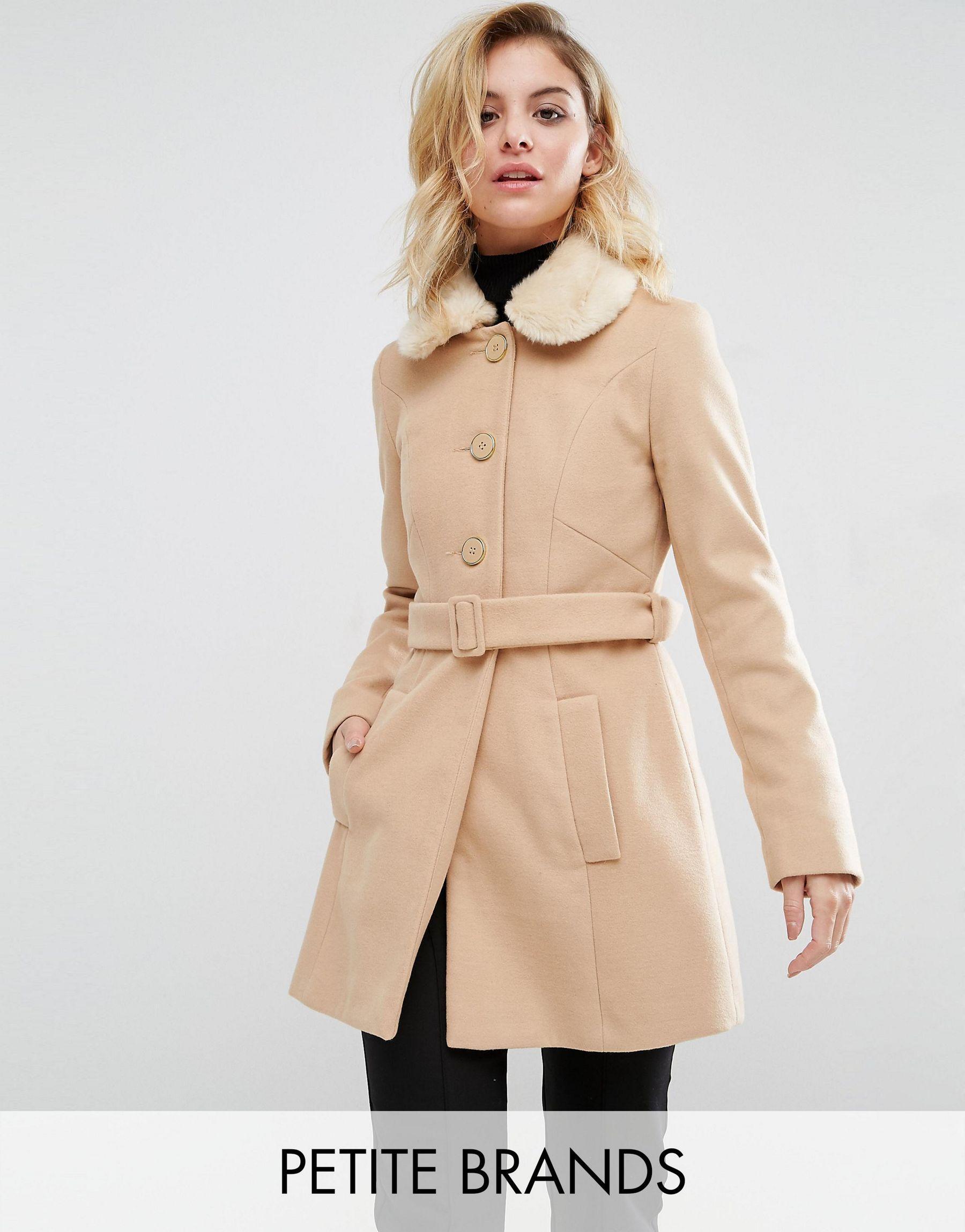 Miss selfridge Faux Fur Collar Coat in Natural