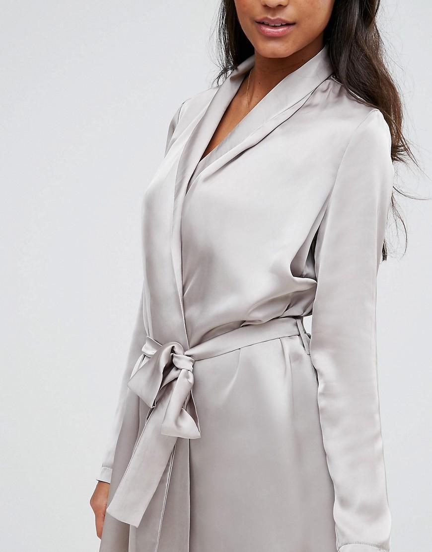 26e40974e72c Vero Moda Satin Nightgown in Gray - Lyst