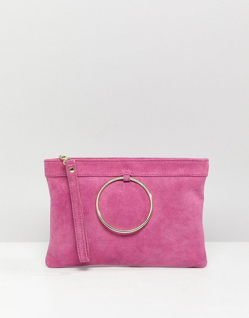 762541e5fe Lyst - ASOS Zip Top Suede Clutch Bag With Ring Detail in Pink