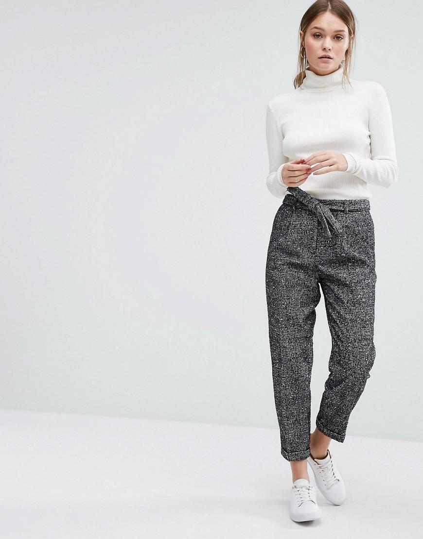 new look wool fleck pant in black lyst. Black Bedroom Furniture Sets. Home Design Ideas