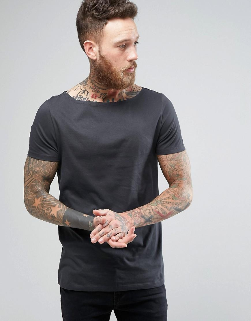 Lyst Asos T Shirt With Boat Neck In Washed Black In