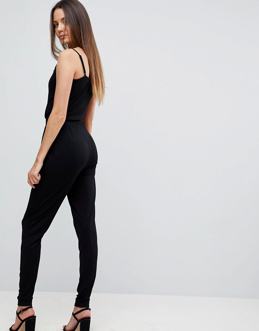 95a1b1766668c Lyst - ASOS Asos Design Tall Cami Wrap Jumpsuit With Peg Leg in Black