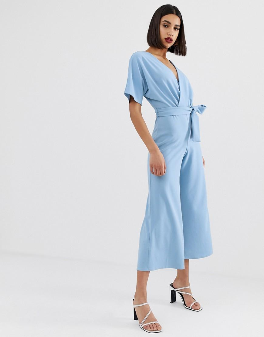 100b36bc76e5 PrettyLittleThing Culotte Jumpsuit With Kimono Sleeve In Light Blue ...