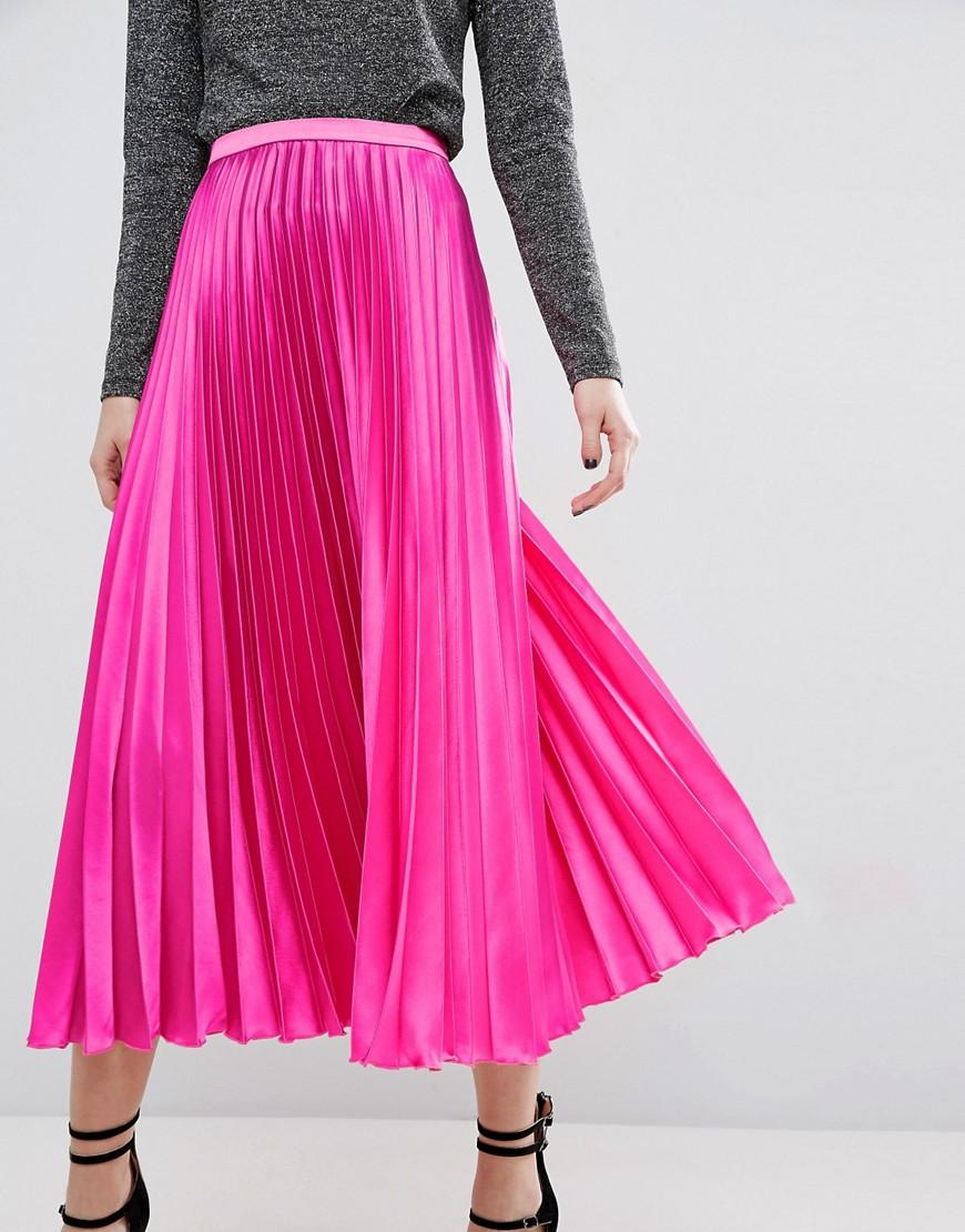 Lyst Asos Midi Skirt In Pleated Satin In Pink