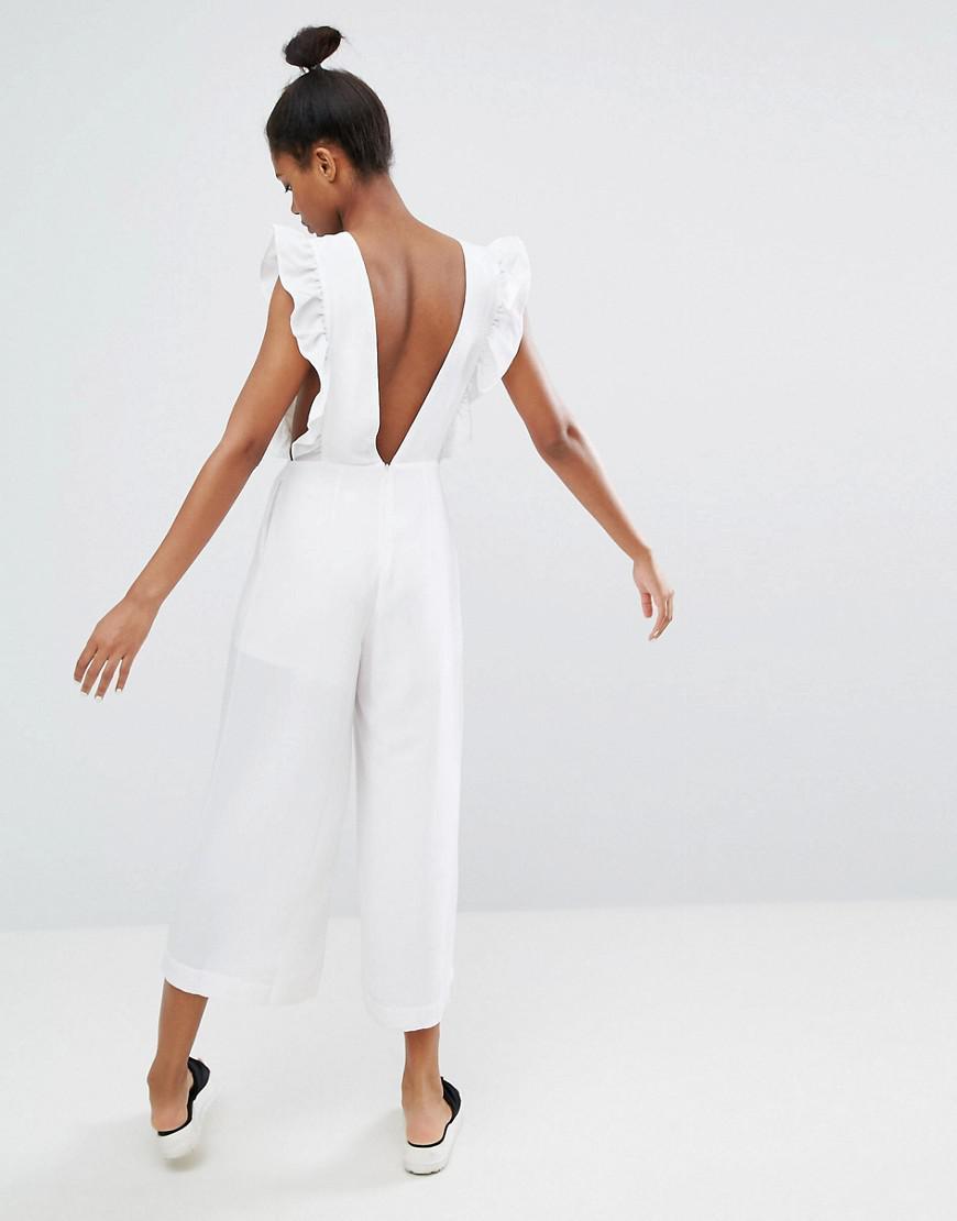 bdaadd8789a2 Lyst - Monki Ruffle Trim Culotte Jumpsuit in White