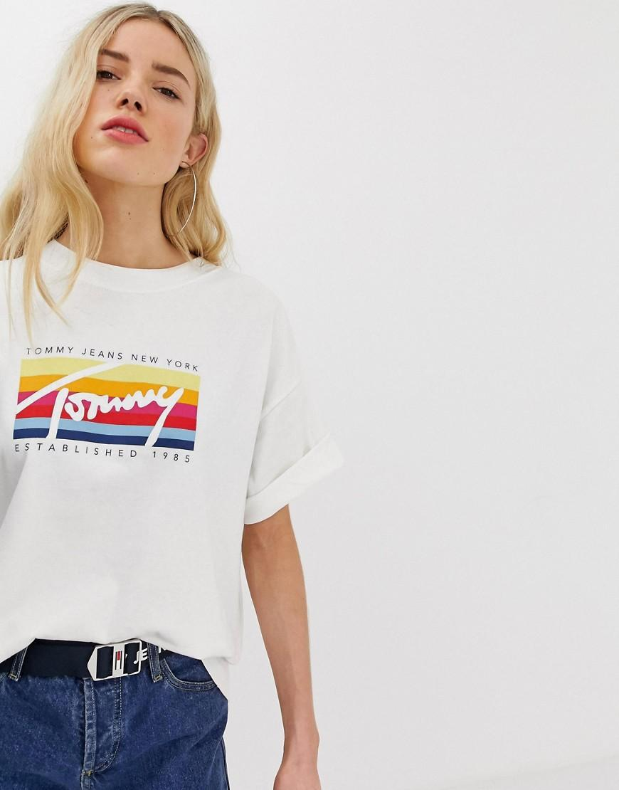 5dec3a9a Tommy Hilfiger Rainbow Script Logo Oversized T-shirt in White - Lyst