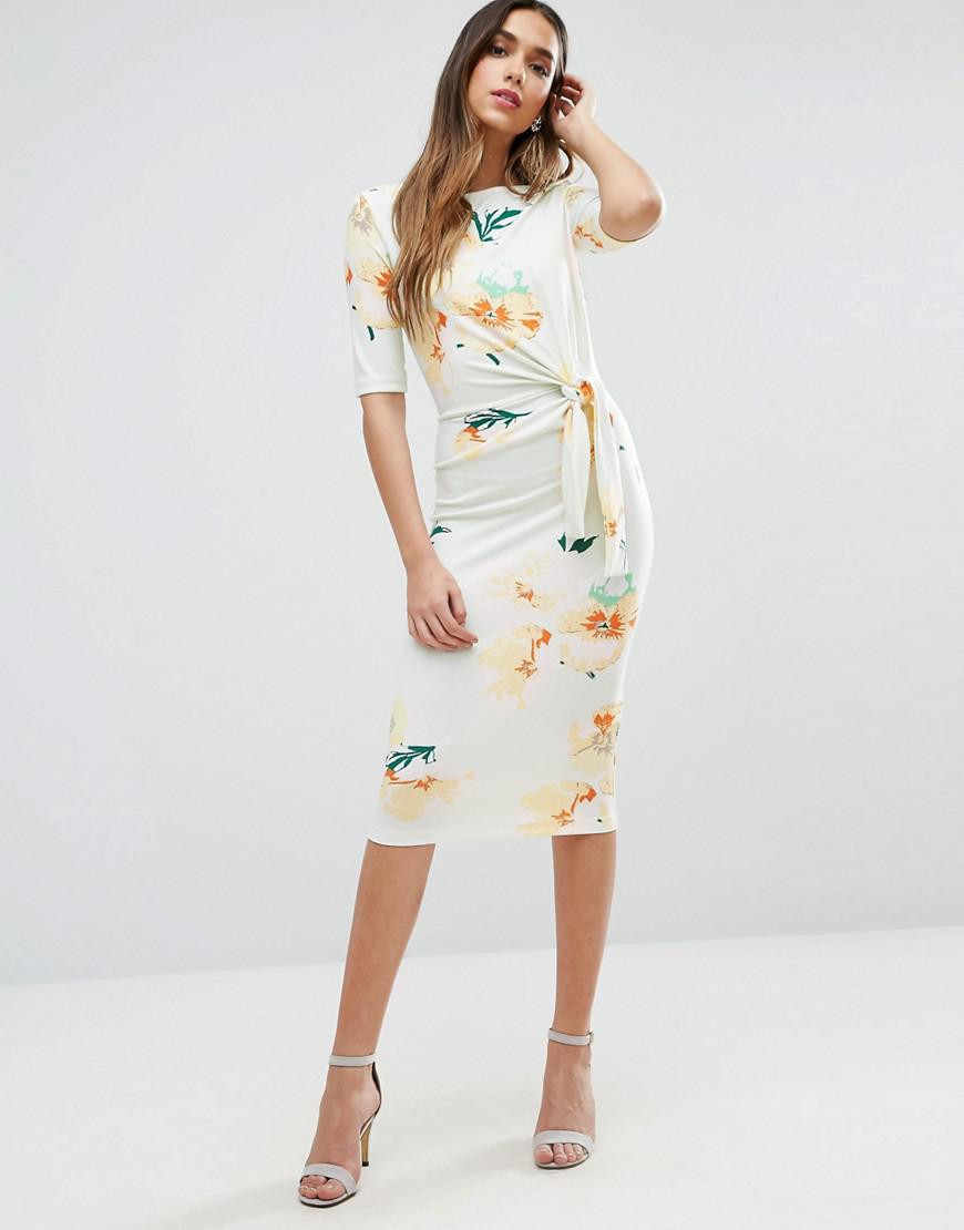 620fa79bf24a ASOS Midi Pencil Dress With Knot Detail In Floral Print - Lyst
