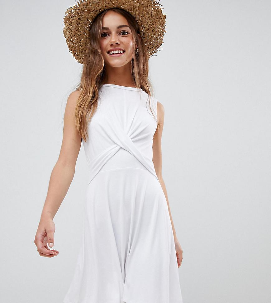 e3e386cd88d2 Lyst - ASOS Asos Design Petite Twist Front Skater Dress in White