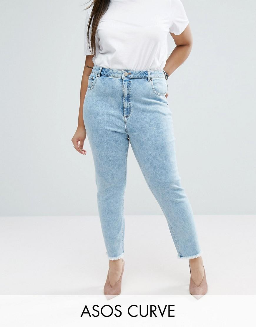 asos farleigh slim mom jeans in sunni pretty midwash with. Black Bedroom Furniture Sets. Home Design Ideas