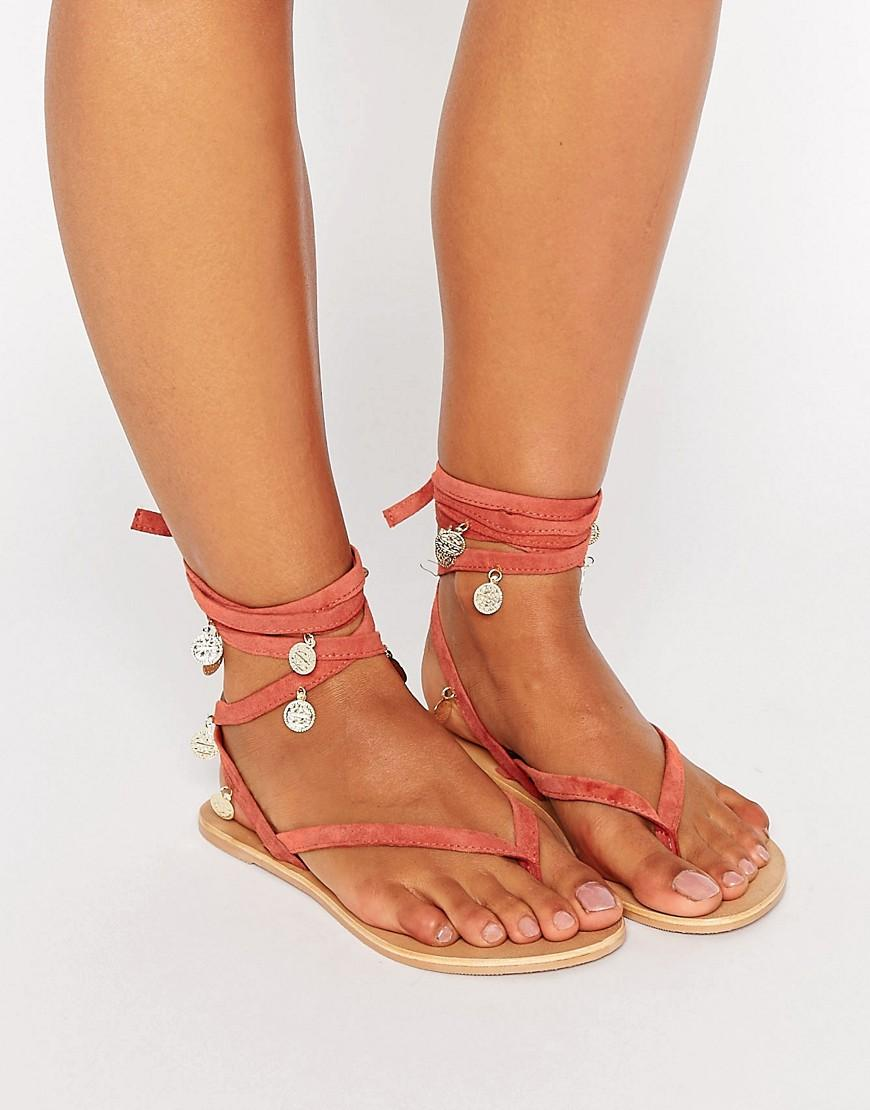 Asos Freesia Suede Coin Tie Leg Flat Sandals in Pink