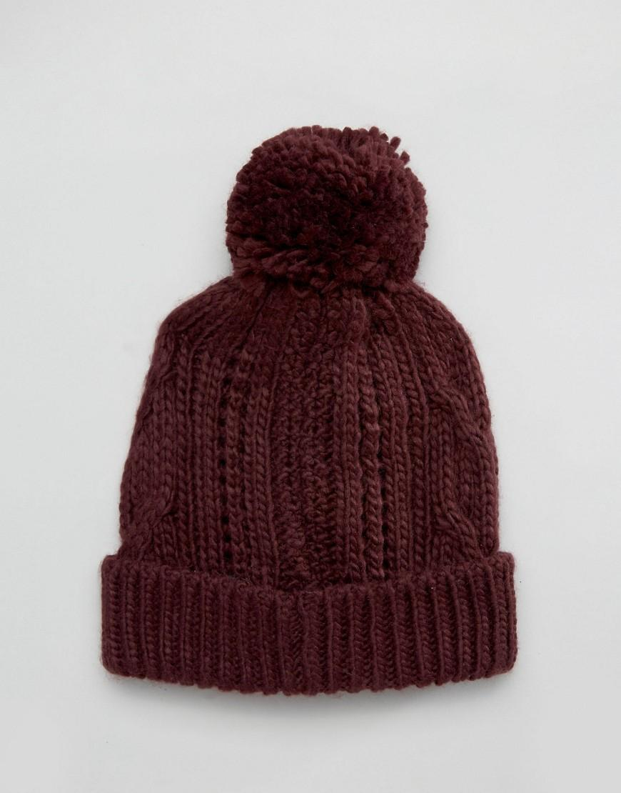 Knitting Warehouse Uk : Lyst warehouse cable knit hat berry in red