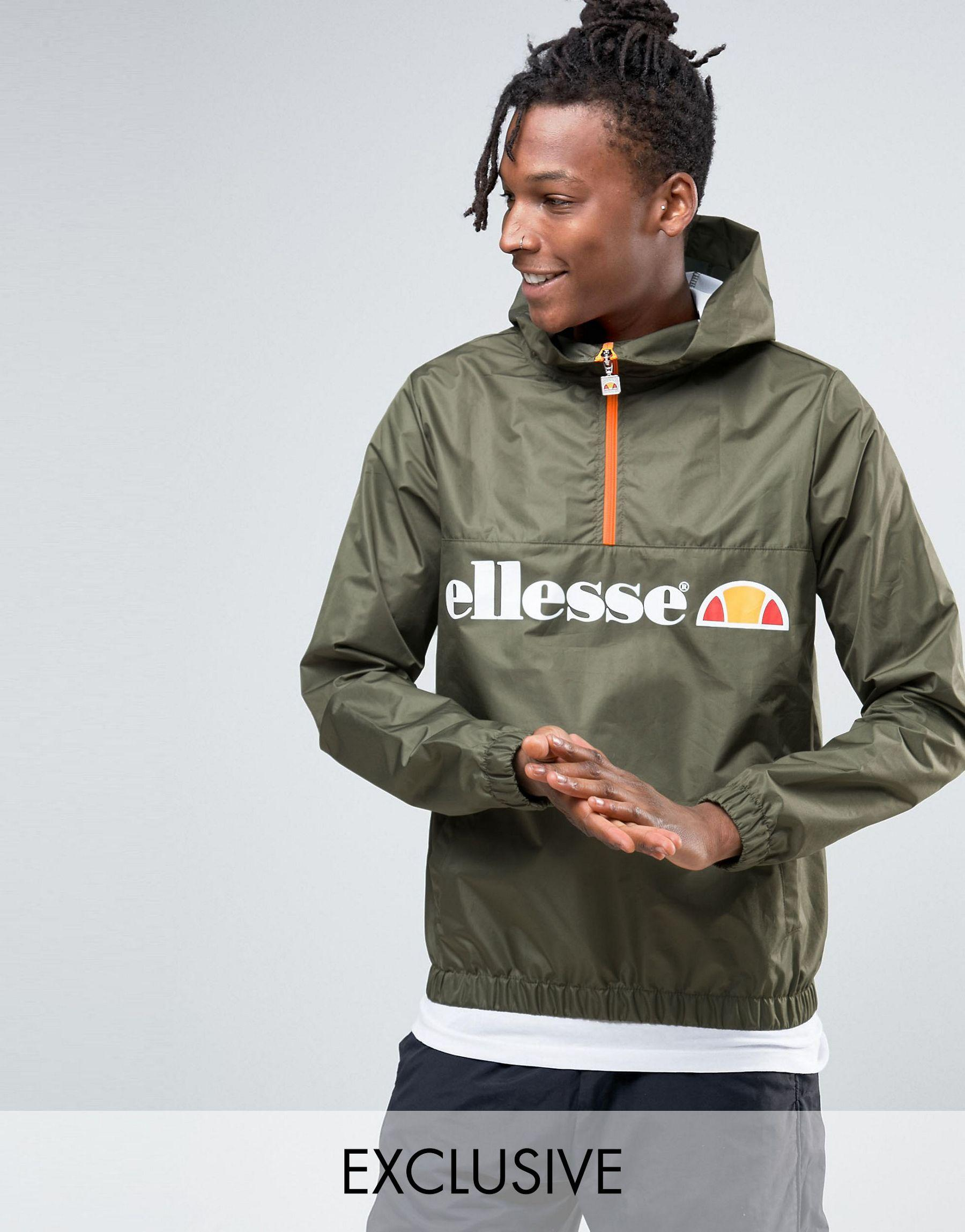 ellesse lightweight overhead jacket in green for men lyst. Black Bedroom Furniture Sets. Home Design Ideas