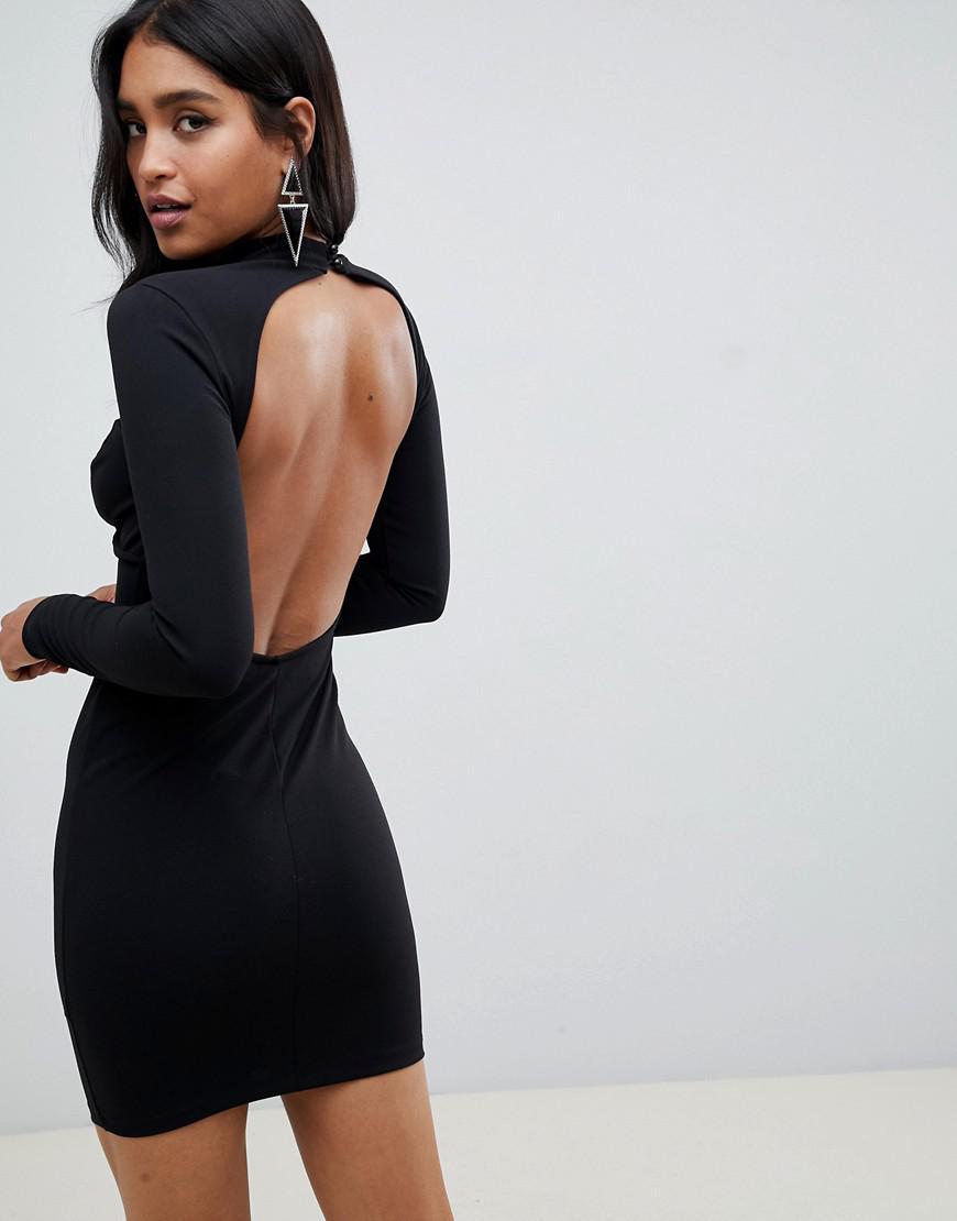 c8c36967a0 ASOS Long Sleeve Underwire Mini Bodycon Dress in Black - Lyst