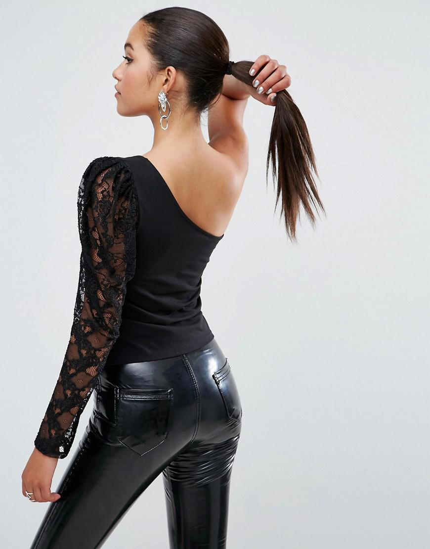 e6ec8611975 ASOS Asos Top With 80s One Shoulder Lace Sleeve in Black - Lyst
