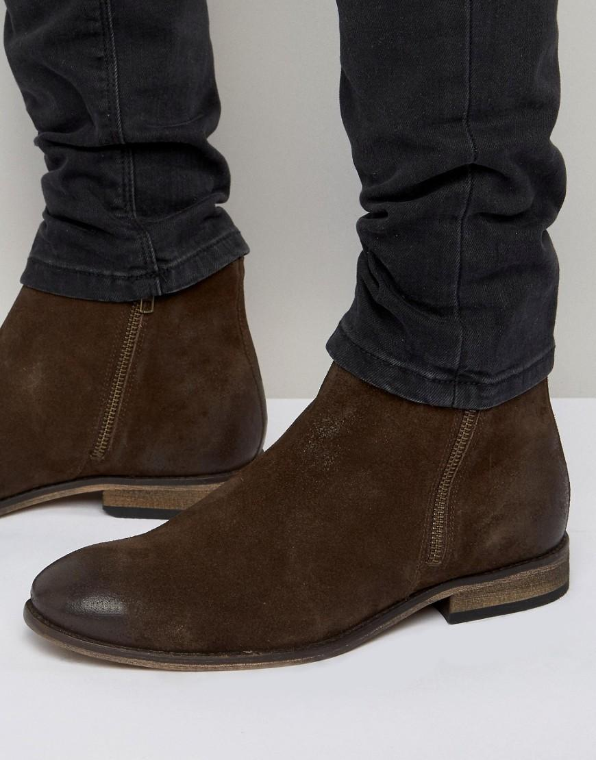 Lyst Asos Chelsea Boots In Brown Suede With Double Zip
