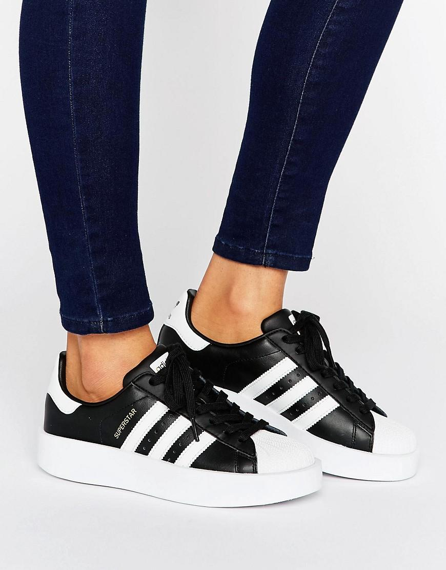 Womens Adidas Superstar Bold Trainers White & Black