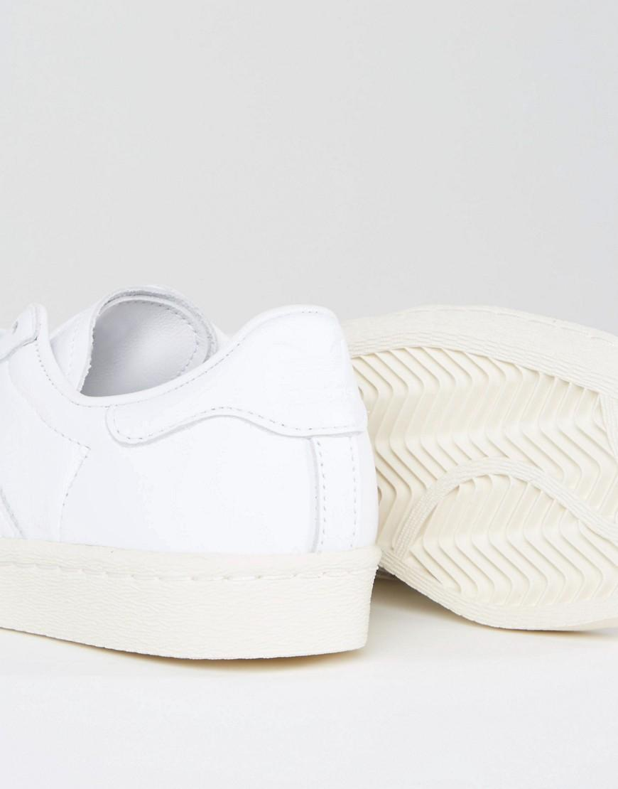 Lyst - adidas Originals Originals White Superstar 80s Sneakers With ... 88cb6ddfee62