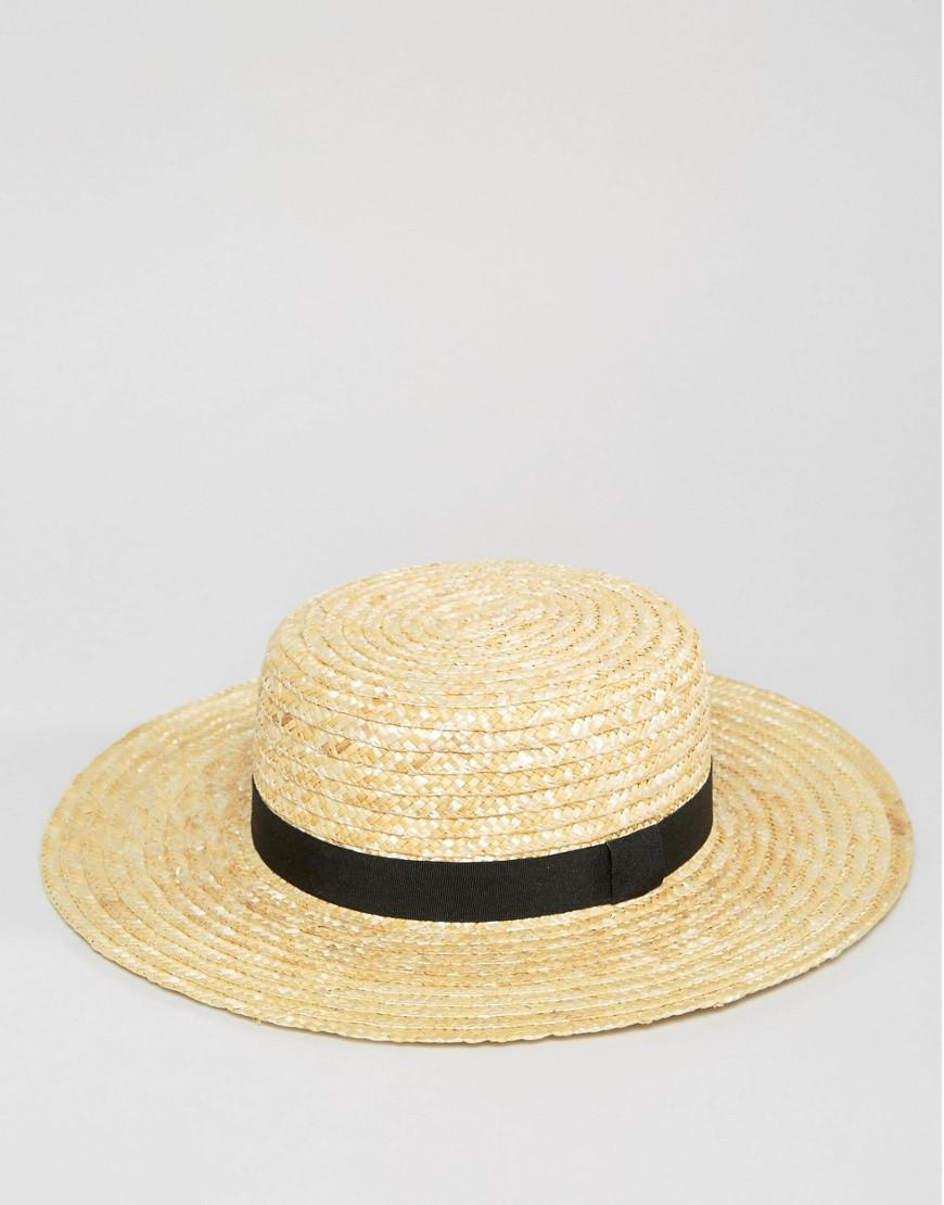 cc0d6e625d2 Lyst - South Beach Straw Boater Hat With Black Ribbon in Natural